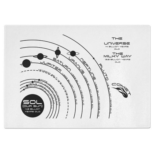 Our Known Solar System Tempered Glass Chopping Board - White